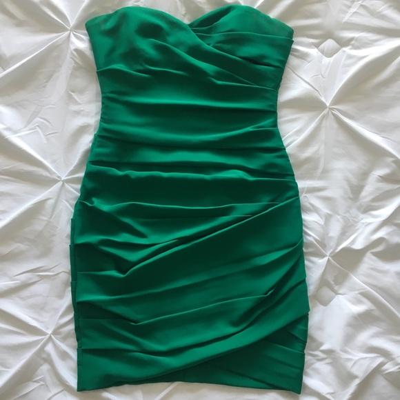 BCBG MAXAZRIA | Emerald strapless dress